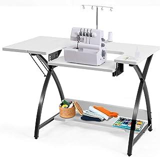 COSTWAY Table de Bureau, Table de Couture Polyvalente pour Ordinateur, Machine à Coudre ou Travail, Plate-Forme Supplément...