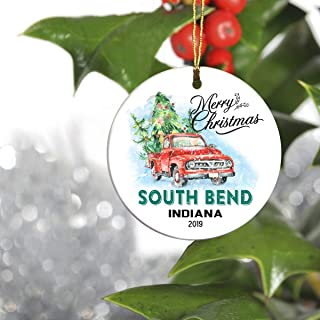 Merry Christmas 2019 Ornament Tree First 1st Holiday Living in South Bend Indiana in - Keepsake Gift Ideas Ornament Christmas 2019 for Family, Friend and Housewarming
