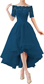 Kevins Bridal High Low Prom Dresses 1/2 Sleeves Off Shoulder Bridesmaid Dress s