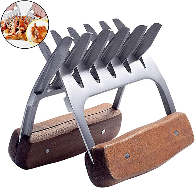 Metal Meat Claws Stainless Steel Pork Pullers Paws With Wooden Handles Meat Shredding Forks For Lifting Handling Shred Roasts Briskets Turkey Chicken