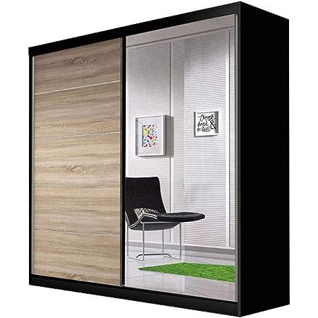 E-MEUBLES Armoire de Chambre avec 2 Portes coulissantes   Penderie (Tringle) avec étagères (LxHxP): 183x218x61 TESS BIS03 (Noir+ Sonoma)