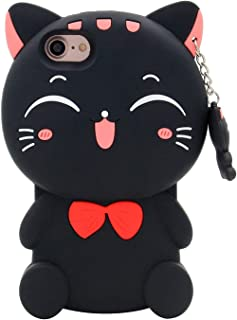 iPhone 6 Case, iPhone 6S Case, 3D Cute Cartoon Lucky Fortune Cat Kitty Shaped Soft Silicone Case Back Cover for iPhone 6 / 6S (4.7