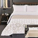 DecoKing Tagesdecke 220 x 240 cm beige weiß Cappuccino Bettüberwurf mit abstraktem Muster zweiseitig pflegeleicht Alhambra