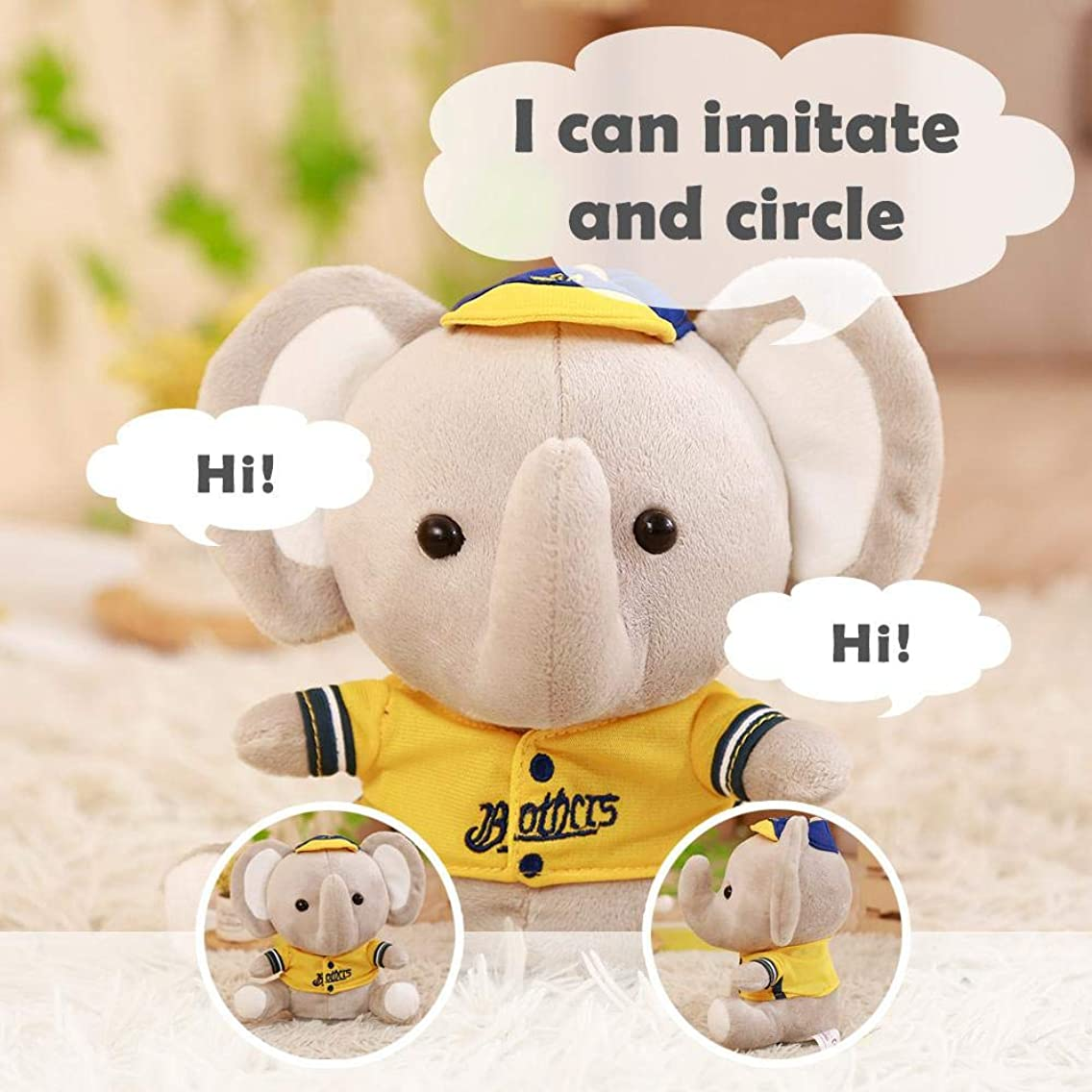 Womdee Plush Talking Toy, Electric Elephant Plush Toy Plush Toy Singing Stuffed Animals, Repeats What You Say, Interactive Doll for Boy and Girl