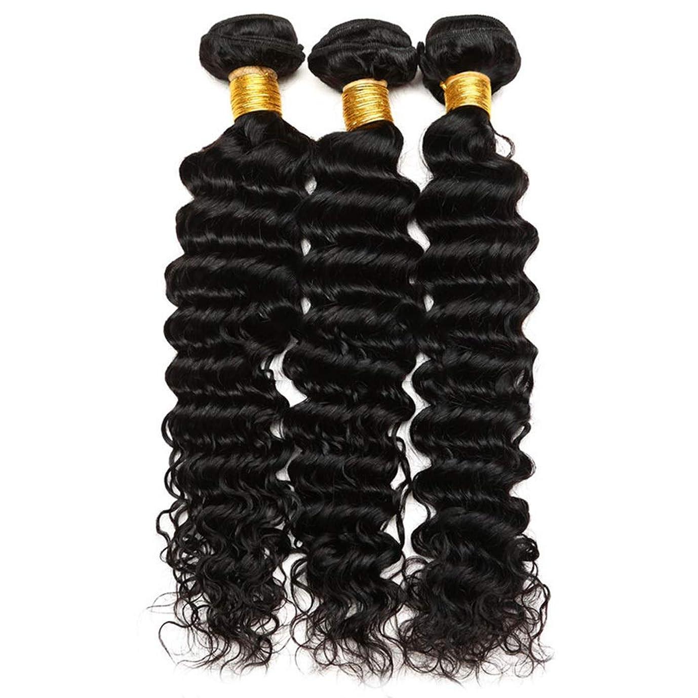 クリーク核食品YESONEEP 7Aグレードブラジル巻き毛ディープウェーブバンドル未処理ブラジル人毛織りエクステンションナチュラルブラック100グラム/バンドル複合ヘアレースかつらロールプレイングかつらロングとショート女性自然 (色 : 黒, サイズ : 10 inch)