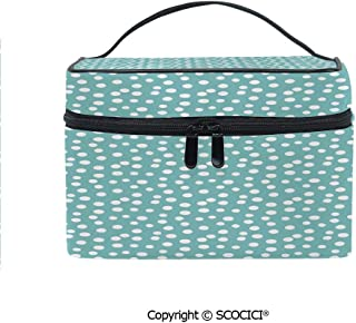 Makeup Case Double Zipper Travel Cosmetic Bags Retro Vintage 60s 50s Inspired Geometric Polka Dots Romantic Art Print for Women Girls