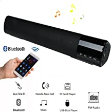 Sound Bar Bluetooth Speaker Wireless Wired Stereo Bass Loud Hifi 10W Speaker With Mic Support TF Card USB Disk FM Radio with clock for TV Computer Smartphones MP3 Player Samsung iPhone LG Motorola HTC