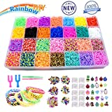 Byserten 10,000+ Loom Rubber Bands Refill Set, Loom Kit, Rainbow Rubber Band Bracelet Kit in 28 Colors, Bracelet Making Kit for Girls with 50 ABC Beads, 100 Colorful Beads, 100 Colorful Peas Box