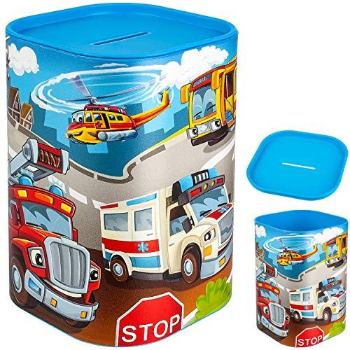 Spardose - Auto - Feuerwehr & Krankenwagen - stabile Sparbüchse - wiederverschließbar - mit abnehmbarem Deckel - aus Kunststoff / Plastik - mit Verschluss - S..