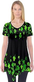 Women's Shirt Green Shamrock St. Patrick's Day & Galaxy Prints Short Sleeve Tunic Blouse, XS-3XL