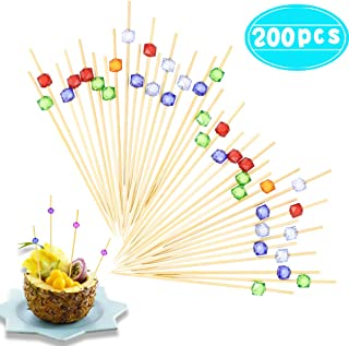 """Newbested 200 Pcs 4.7"""" Cocktail Drink Sandwich Picks Toothpicks Decorative Fruit Food Cupcakes Skewers Sticks Appetizer Bamboo Cute Dessert Pick with Small Colorful Cube Decor Party Supplies"""