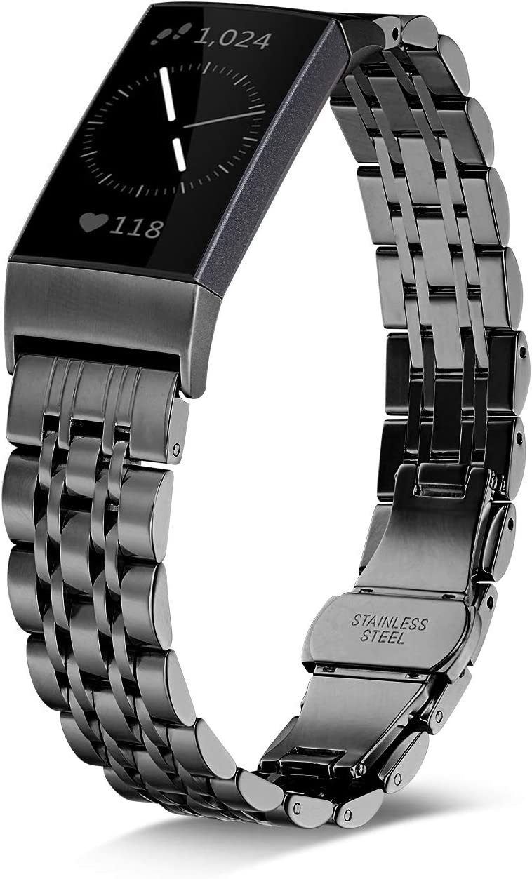 Shangpule Stainless Steel Bands Compatible for Fitbit Charge 4 / Fitbit Charge 3 / Fitbit Charge 3 SE, Replacement Metal Strap Wrist Band Accessories for Charge 3 Large Small (Black)