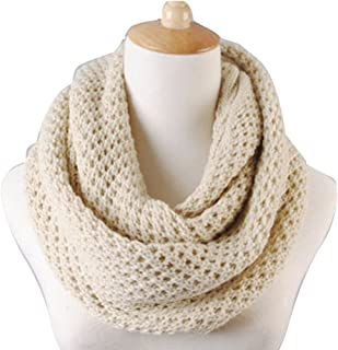 NSSTAR Winter Warm Weave Knitting Crochet Women Neck Warmer Infinity Scarves Loop Scarf Great Christmas Gift with 1PCS Free Cup Mat Color Ramdon (Beige)