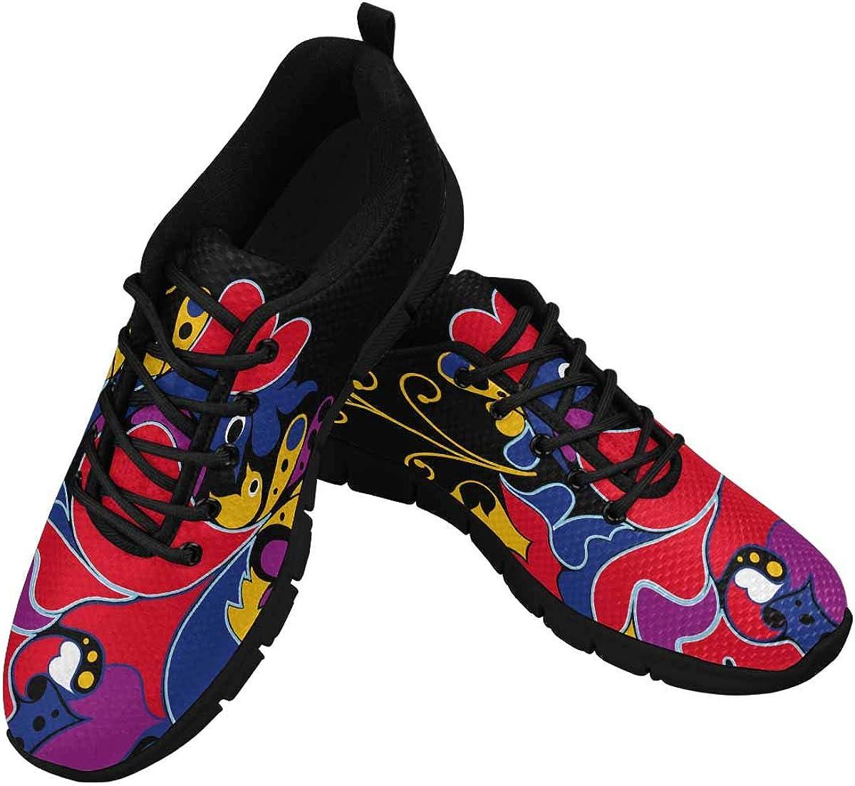 InterestPrint Cute Heart Bird Women's Athletic Walking Shoes Breathe Comfort Mesh