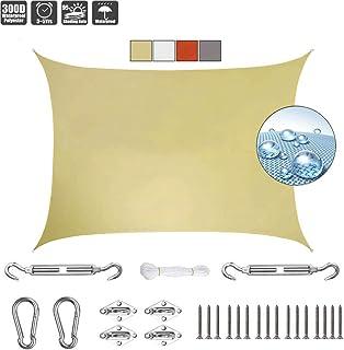 comprar comparacion GOUDU Rectangular Vela de Sombra 2x4.5m Toldos IKEA Protección UV 95% Kit de Fijación para Jardín Patio Terraza Balcón, Beige