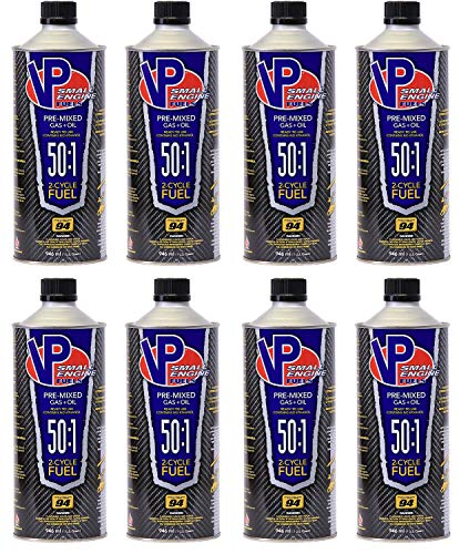 VP Small Engine Fuels 6238 Ethanol-Free 50:1 2-Cycle Gas+Oil - 1 quart, Pack of 8