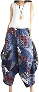 Doufine Women Colorful Pockets Linen Plus Size Printing Retro Bell Bottom Pants