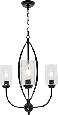 TODOLUZ 3-Lights Pendant Lighting Kitchen Island Light Fixtures with Seedy Glass Shade, Hanging Chandelier Pendant Lamps for