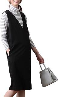 ANGELIEBE エンジェリーベ マタニティ ワンピース 授乳しやすい ポンチ ミドル ジャンパードレス 妊婦服 産前 産後 S~M ブラック 22196 22196101