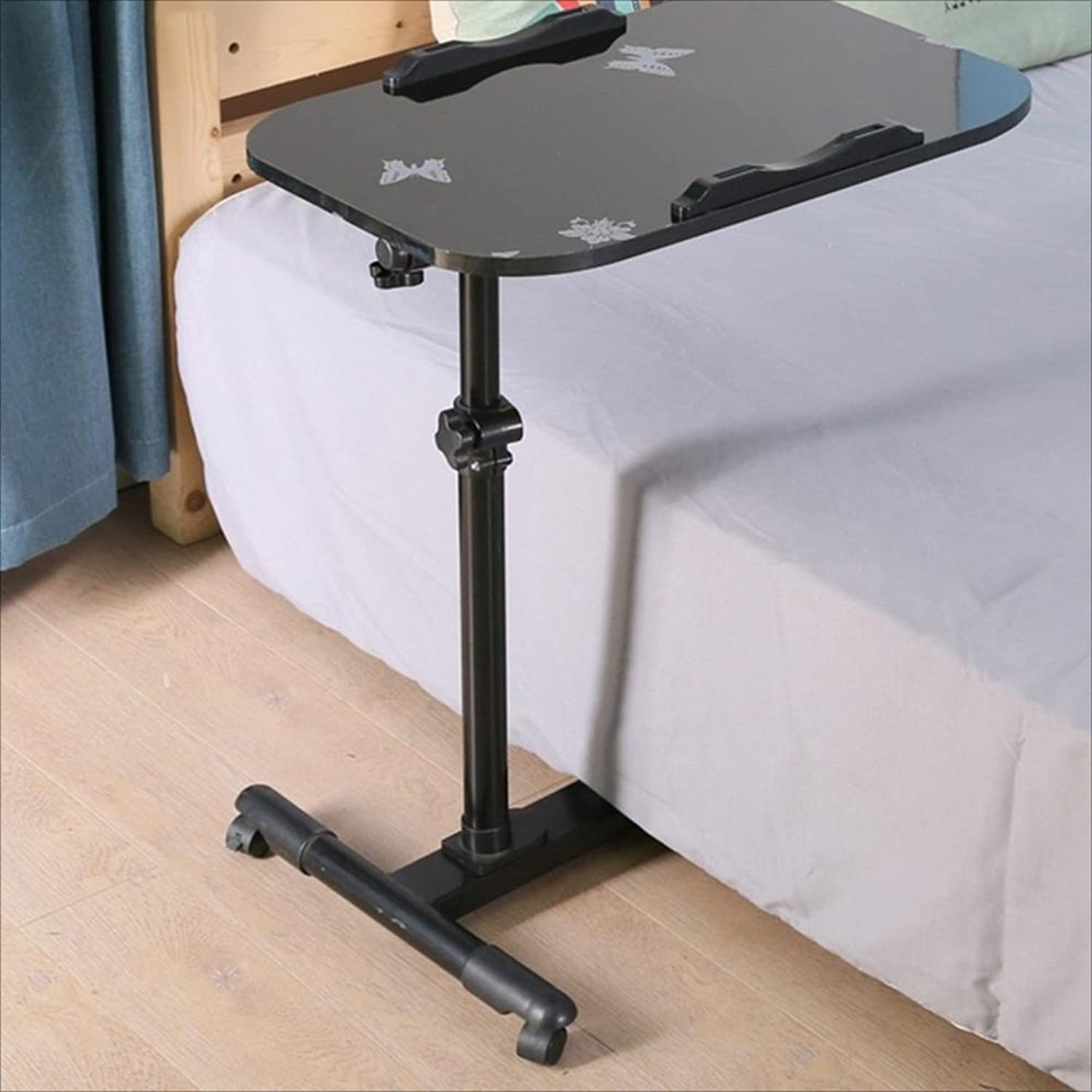 NAN Desktop Laptop Table Folding Table Lazy Bed Desk Household Fold Mobile Liftable Bedside Table Black, White Folding Tables (color   B)