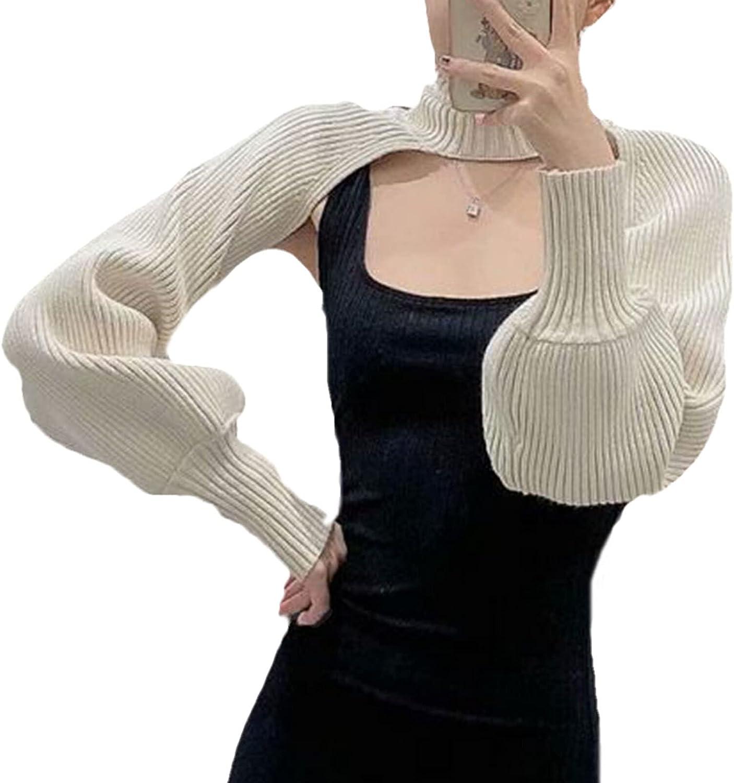 Shrugs for Women Casual Crochet Long Sleeve Color Block Crop Top Sweater Knit Y2K Turtleneck Bolero Cardigan for Dress