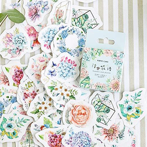 Blour stickerset met bloemen en planten, mini-stickers, bloemenmotief, voor dagboek, album, cadeaupapier, 46 stuks