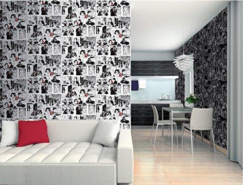 Versatile - Papel Pintado Comic 40s Versatile Negro 10 x 0,53 m.