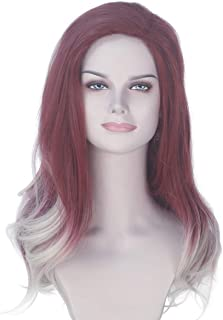 Miss U Hair Long Wavy Dyeing Color Wig Burgundy Ombre Blonde Cosplay Costume Wig