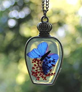 Fatto a mano Collana di fiori secchi Palla Di Vetro Blu Farfalla Collana