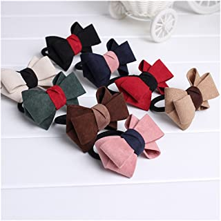 Lovef 8pcs/Pack Velvet Double Bow Cute Elastic Hair Band Hair Ring Colorful Ponytail Holder Bow Tie (For Women Girls)