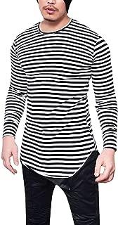 iLXHD Men's Basic Crew Neck Cotton Long Sleeves Striped Scallop Bottom T-Shirt