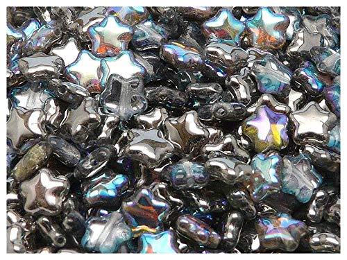 50pcs Star® Bead® - Perles de verre pressées tchèques sous la forme d'une Étoile de 8 mm, Crystal Graphite Rainbow