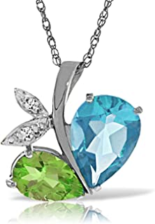 ALARRI 14K Solid White Gold Modern Heart Necklace Combination Of Blue Topaz, Peridot & Diamonds with 24 Inch Chain Length