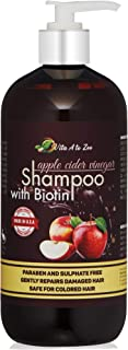 Apple Cider Vinegar & Biotin Shampoo|Hair Thickening & Strengthening Shampoo with Aloe Vera Juice, Argon Oil & Saw Palmetto | Balances pH, Condition, Moisturize & Remove Build-up