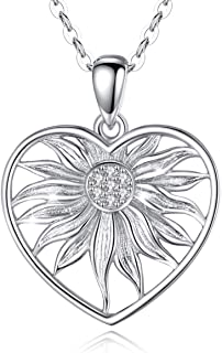 Sterling Silver Sunflower Necklace Heart Pendant with...