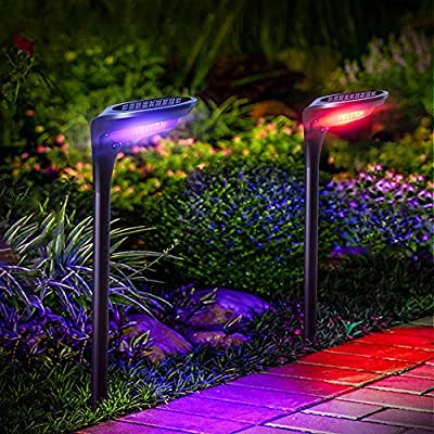MZVUL Color Changing Solar Lights, IP65 Waterproof Solar Garden Stake Lights Outdoor Landscape Lighting 2-in-1 Solar Wall Light with Auto On/Off Solar Pathway Lights for Path Yard Patio Decor (2Pack)
