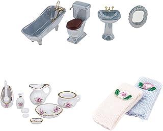HOMYL Bathroom Decoration Toilet Bathtub Set Miniature Accessory for 1:12 Dollhouse Toy