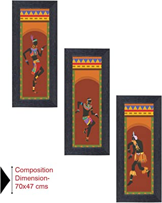 Amazon Brand - Solimo Tribal Celebration Painting with Frame, Set of 3