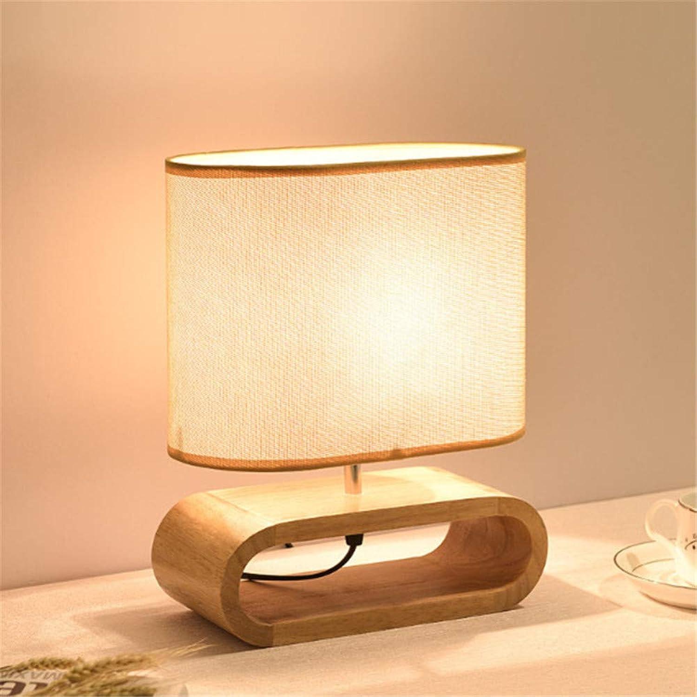 Einfache hlzerne Tischlampe E27 90-260V nordisches Schlafzimmer-Nachttischgewebe-Schreibtisch-Leuchten