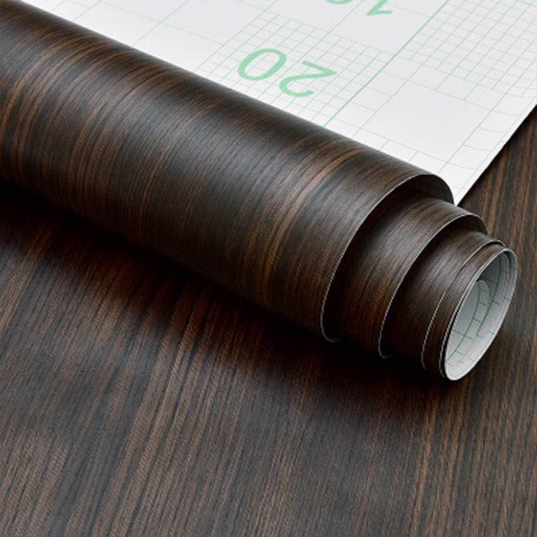 Papel autoadhesivo rústico de madera de nogal oscuro para estantes de cocina, encimeras, mesas de escritorio, decoración de muebles (40 x 300 cm)