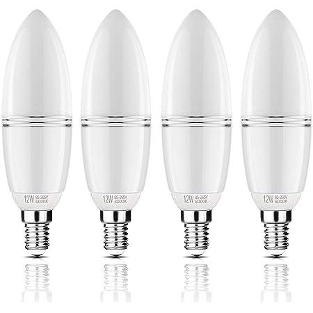 Yiizon ampoules Bougie à LED E14 12W, 100W Ampoule à incandescence équivalent, 6000K Blanc Froid, 1200LM, Cri>80+, Petit culot à vis, Chandelier ampoules LED(4 PCS)