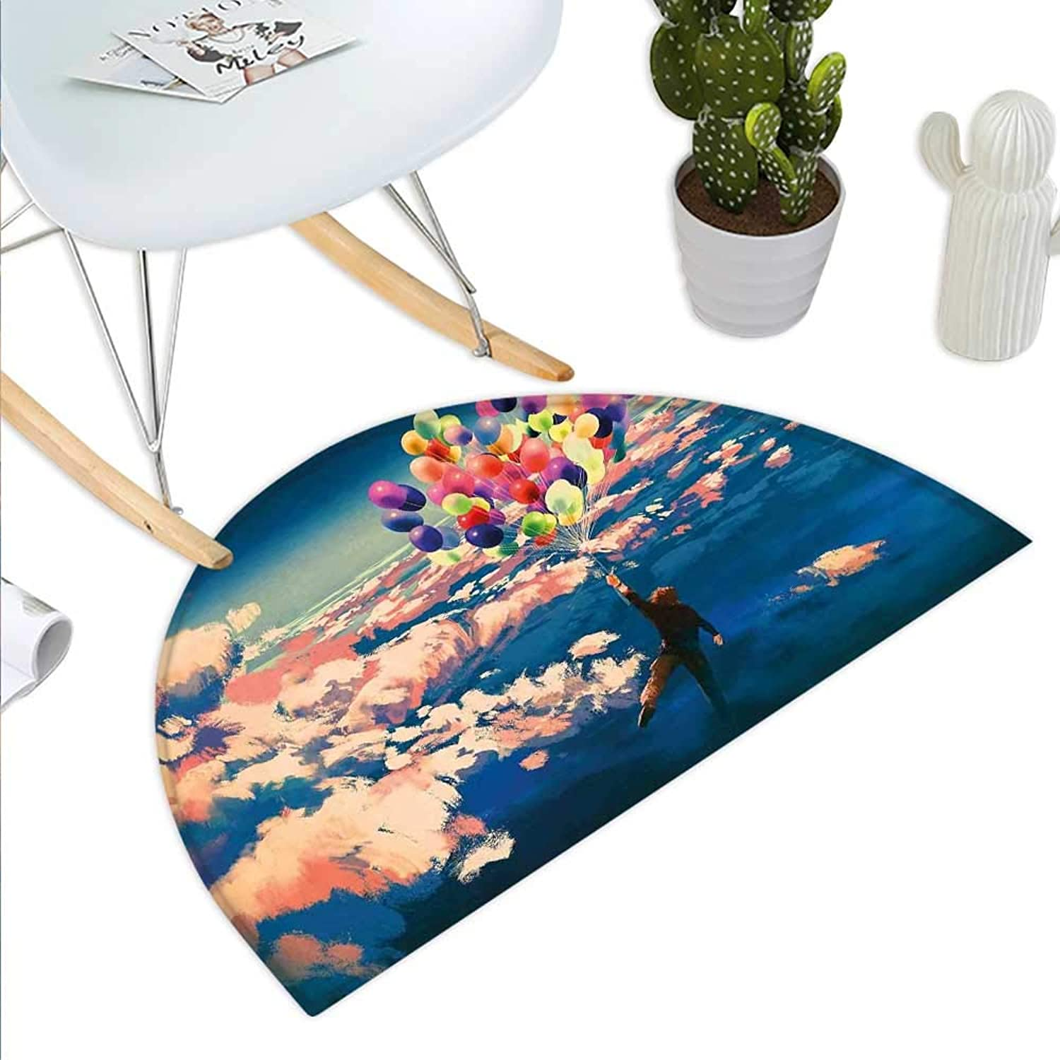 Adventure Semicircle Doormat Man Flying with colorful Balloons in The Sky on Clouds Miracle Paint Print Halfmoon doormats H 35.4  xD 53.1  Coral and bluee