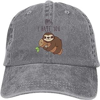 LeoCap Hate Sloth Baseball Cap Unisex Washed Cotton Denim Hat Adjustable Caps Cowboy Hats