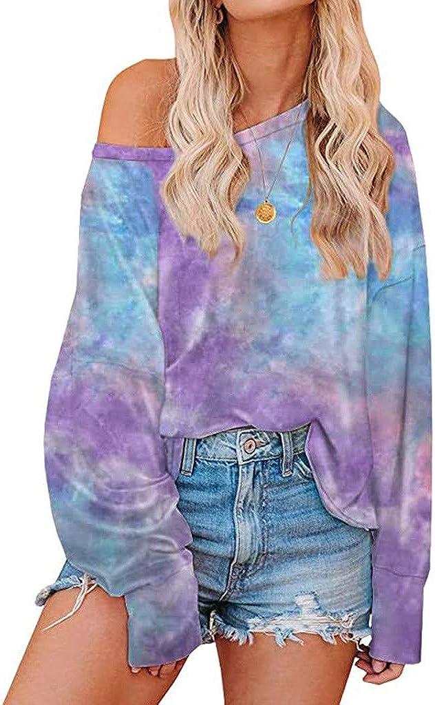 FABIURT Women Long Sleeve Tops, Womens Fashion Tie Dyed Off Shoulder Sweatshirt Casual Loose Pullover Shirt Tunic Blouse
