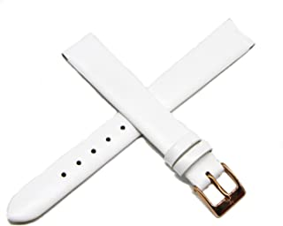 Lucien Piccard 14MM White Genuine Leather Watch Strap Band 7.5 Inches with Rose Gold LP Initial Buckle
