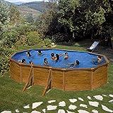 Galapagos by Gre - Set per piscina ovale con parete in acciaio effetto legno, 610 x 375 x 120 cm