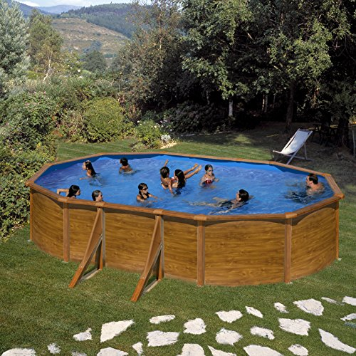 Pool Set Gala pagos by Gre – Acero Pared óptica de madera ovalada Pool 610 x 375 x 120 cm