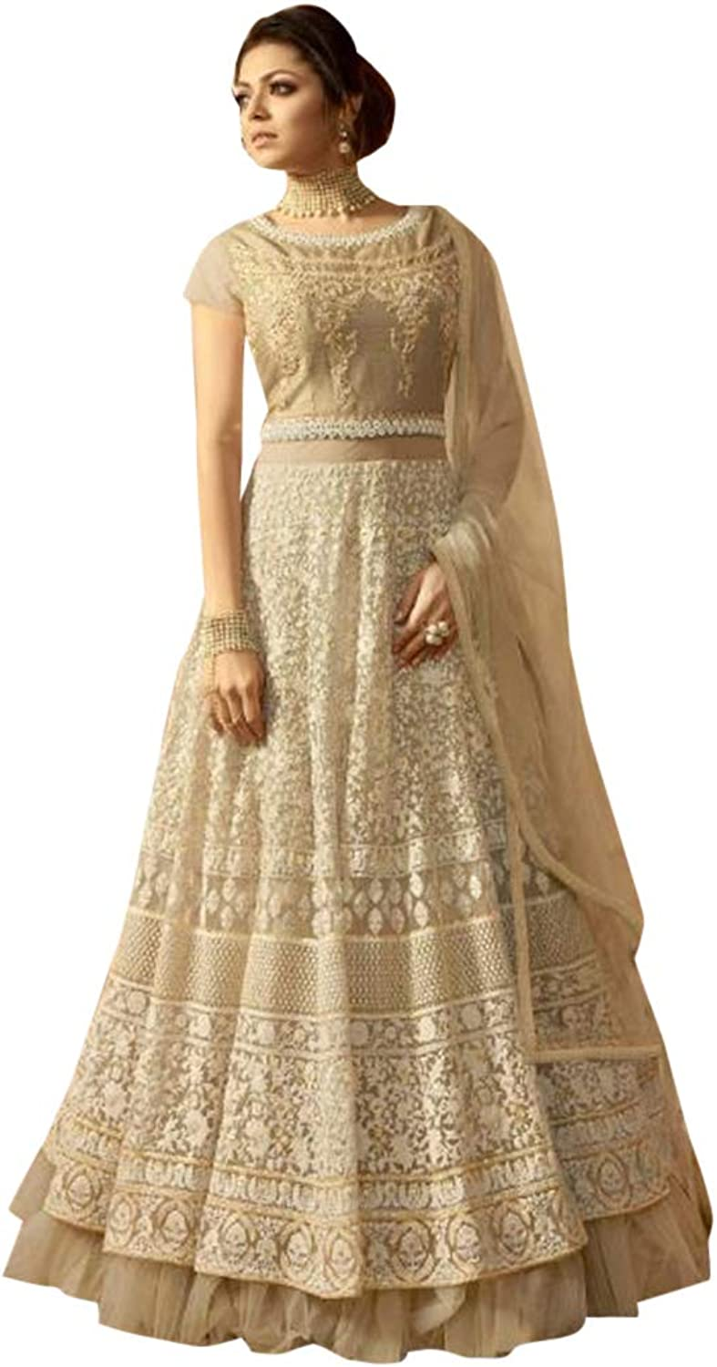Beige colord Bollywood Party wear Net Anarkali suit Indian Women Long Gown dress 7478