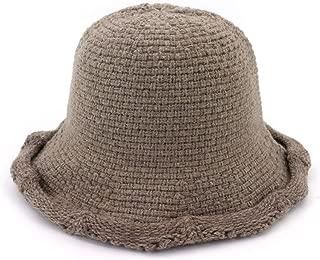 MZHHAOAN Knit Hat Autumn and Winter Korean Version of The Warm Line Cap Foldable Simple Fisherman Cap Cap,Black,One Size