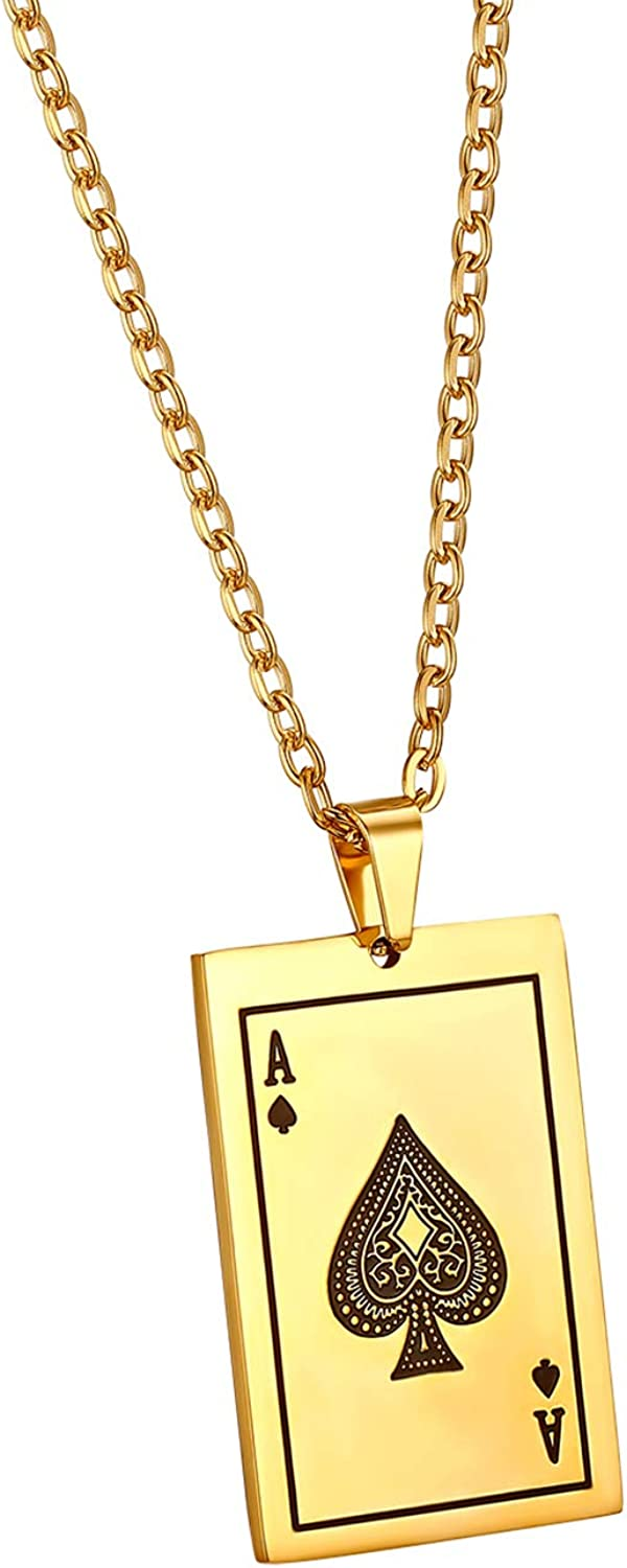 OIDEA Stainless Steel Punk Rock New arrival Pendant Necklace Poker Ace Card Soldering